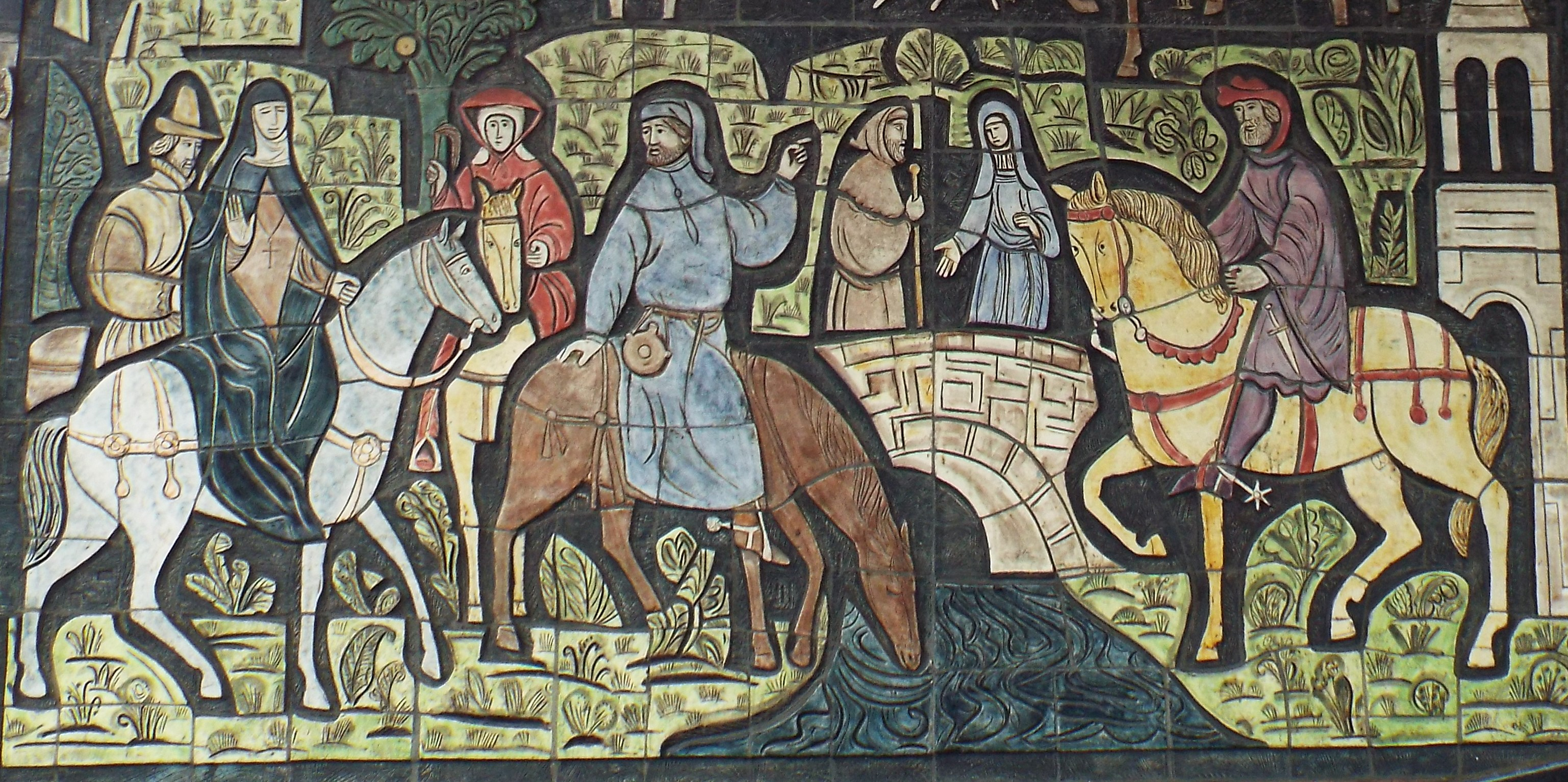 This famous mosaic in Old Kent Road depicts medieval pilgrims on their way to Canterbury.
