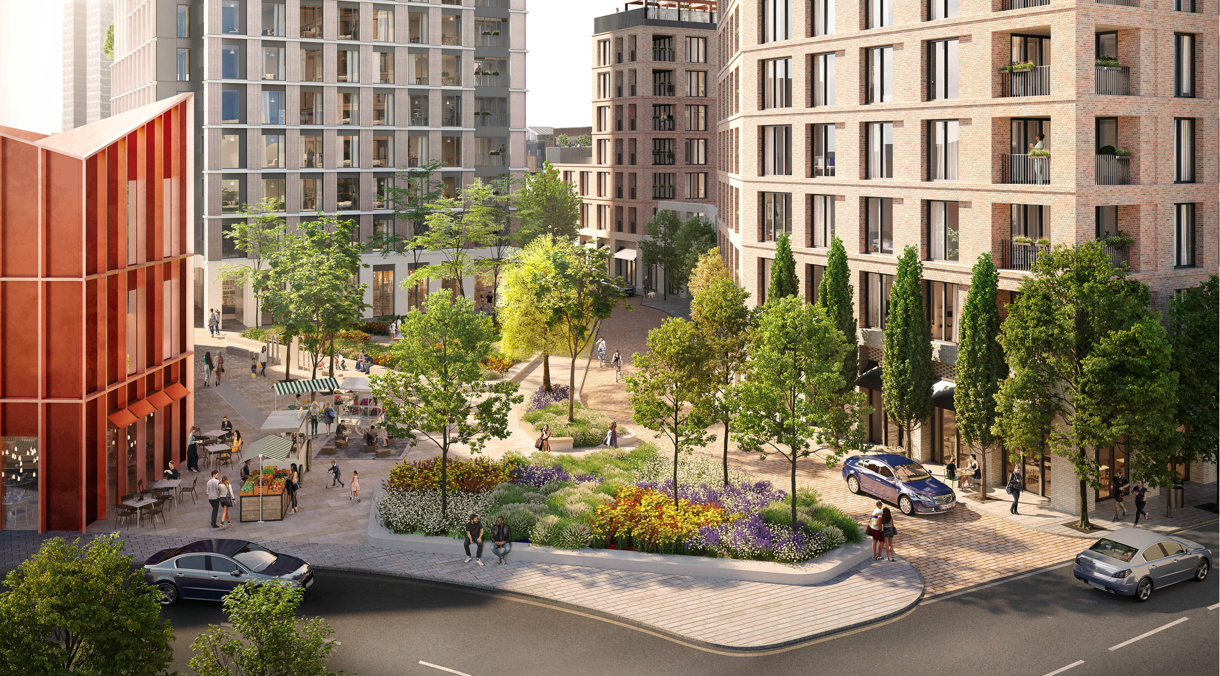 CGI of Devonshire Square, a new public space for Old Kent Road