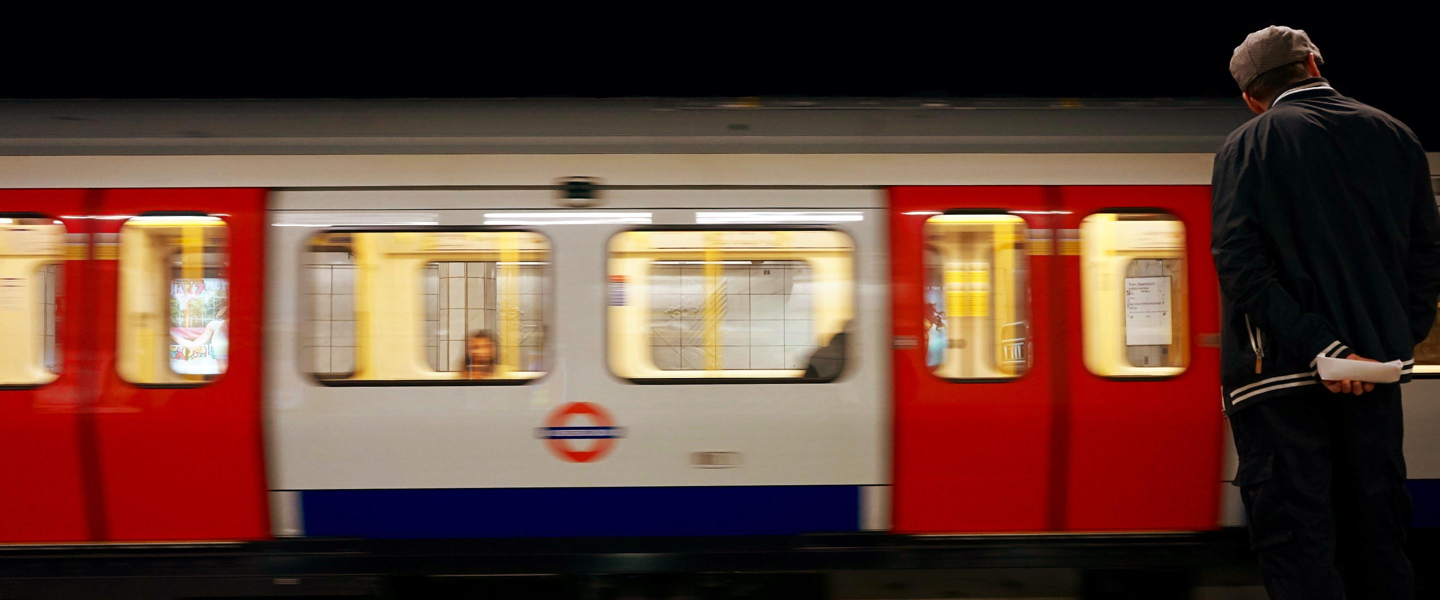 A tube pulling into the station