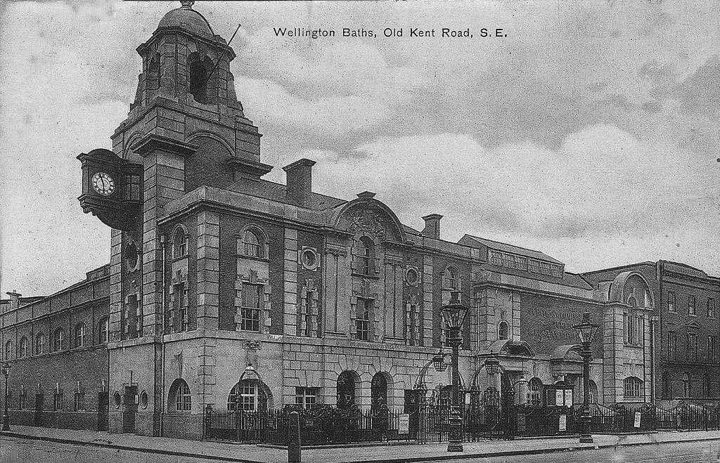 The Wellington Baths on the corner of Old Kent Road and Marlborough Grove were destroyed during the Blitz
